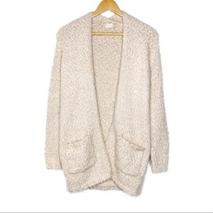 Altar'd State Fuzzy Cream Colored Cardigan Small